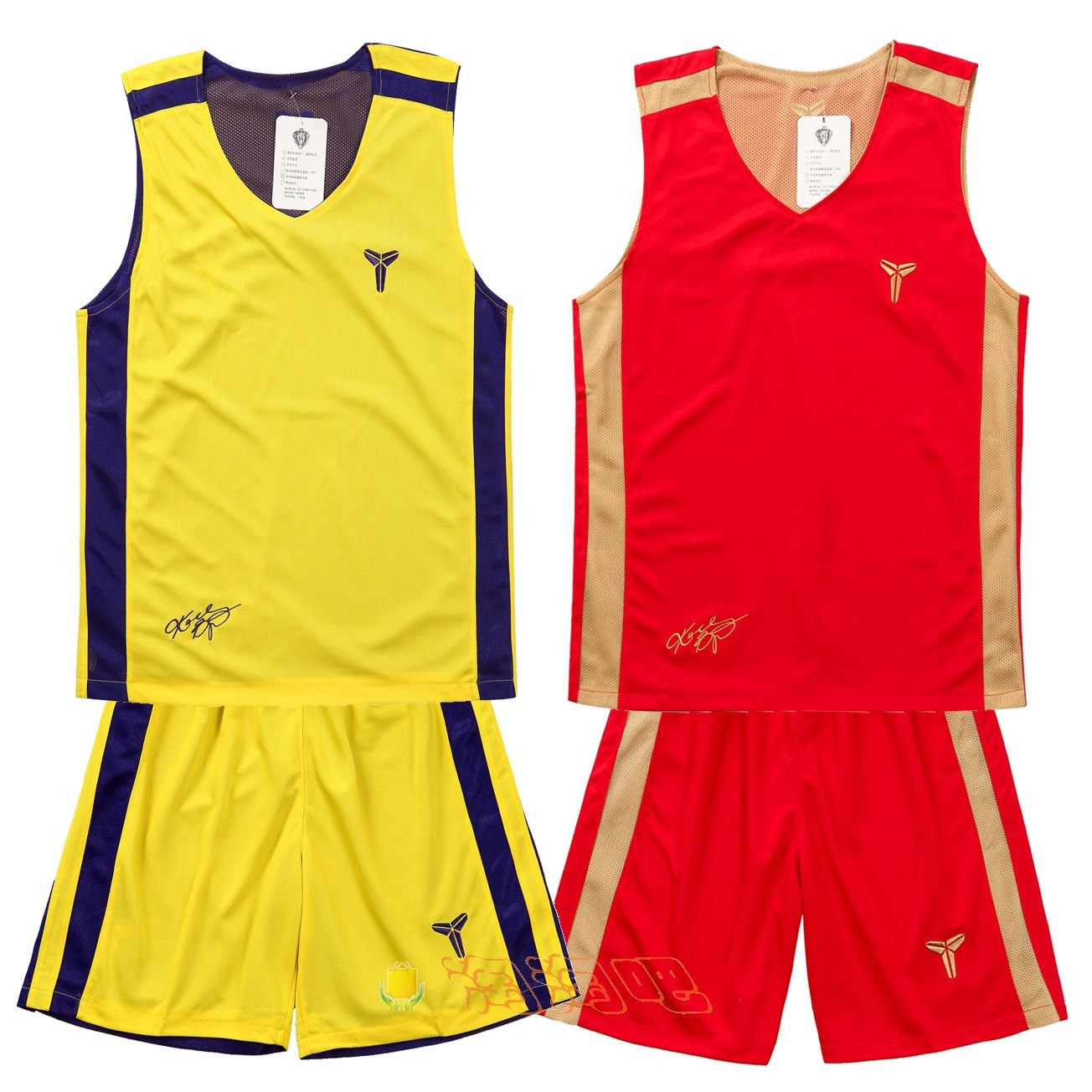 The new kobe basketball shirt can be worn on both sides, and the basketball suit is double mesh and breathable