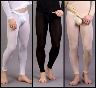 MV home pants men s underwear sexy transparent thin ice silk leggings pants Qiuku