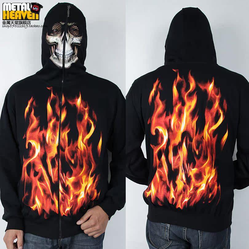 Металлический свитер мужской свитер пальто рок хип-хоп Небо пламени 3D маски и черный Толстовки Контртеррористического молнии