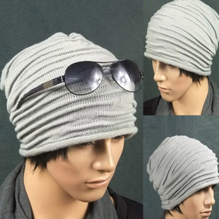 Korean version of men s casual jacket hat headgear knit wool cap autumn and winter fashion trends hip hop cap folds