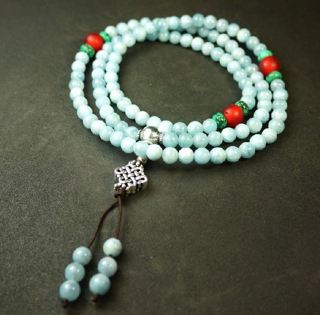 Natural Aquamarine Buddha bead four circle mens bracelet mens and womens multi-layer fashion jewelry special price jewelry mens Bracelet