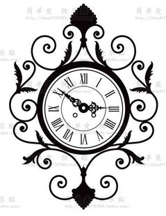 224 European-style garden wall clock bedroom living room wall stickers background wall to send roses 4