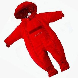 Швеция Lindex оригинальный сингл ребенка в тепле Ромпер / комбинезон / га хлопка / красный лыжный костюм