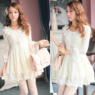 2014 spring and summer new flounced chiffon lace trumpet sleeve collar long sleeved dress princess dress skirt