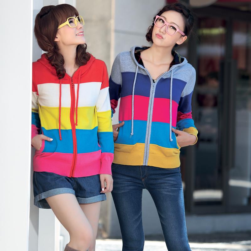 以真 2012秋装新款女装连帽韩版毛衣女修身休闲针织开衫外套 4556