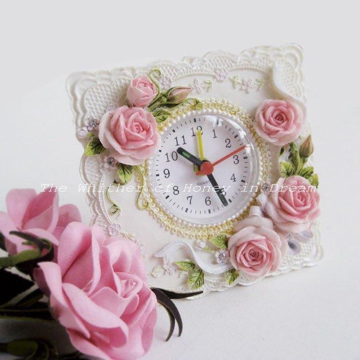 时尚家居玫瑰树脂小座钟-闹铃功能 天天双12全场5折满50包邮