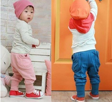 Boys and girls fashion casual hanging bag side pocket collapse Pants / trousers / necking Pants / boots and breeches
