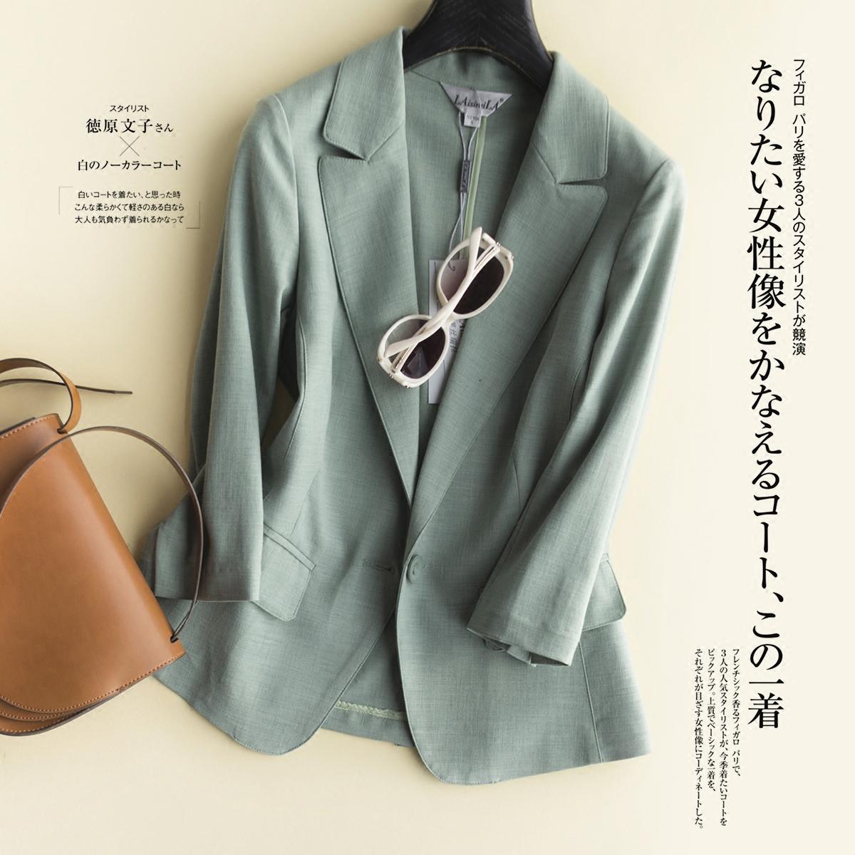 春夏新款韩版修身显瘦时尚丝麻通勤薄款七分袖小西装外套短款女