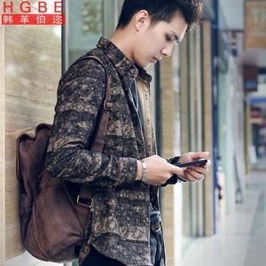 秋季韩版男装复古衬衫男士修身长袖民族风港风ins超火的上衣外套