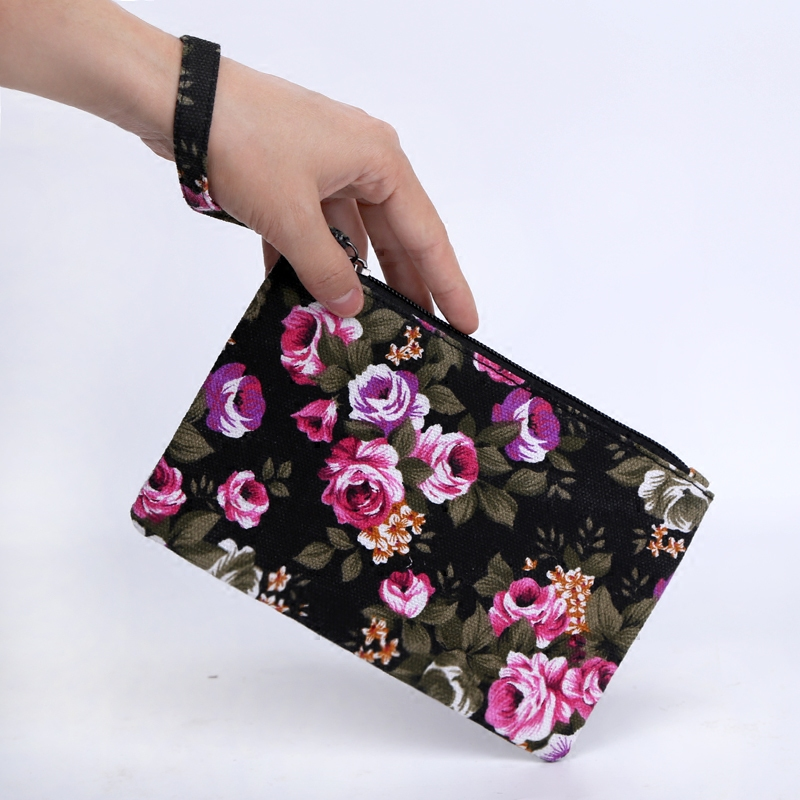 Holiday lover Mini change bag hand bag mobile phone bag female canvas art key bag mother bag long bag