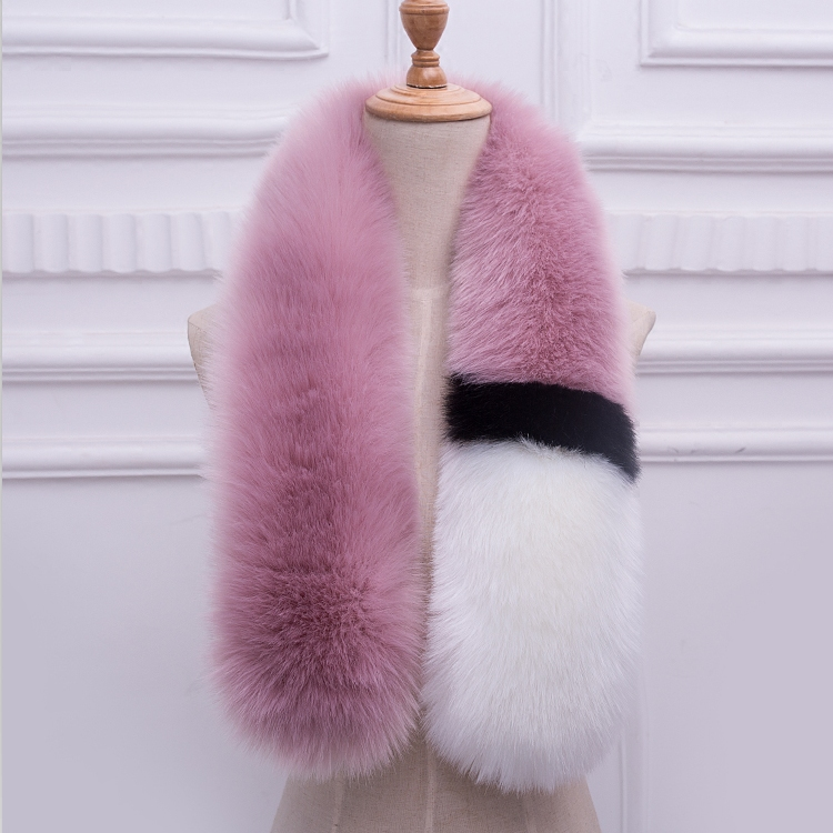 Korean color matching fox fur straw scarf for women winter thickened dual purpose shawl student neck long fur collar