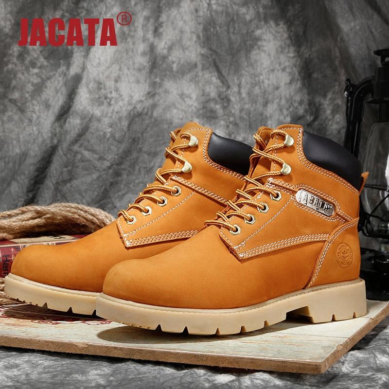 JACATA中帮马丁靴男秋季男靴子高帮工装靴真皮英伦沙漠靴圆头短靴