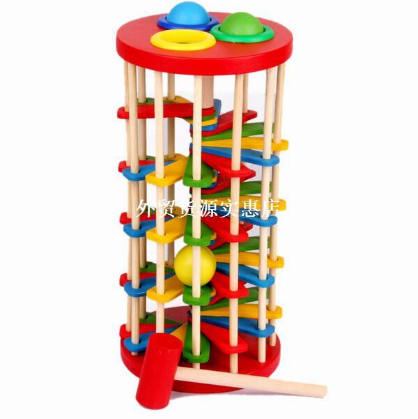 educational wooden toy knock ball the ladder pound and roll