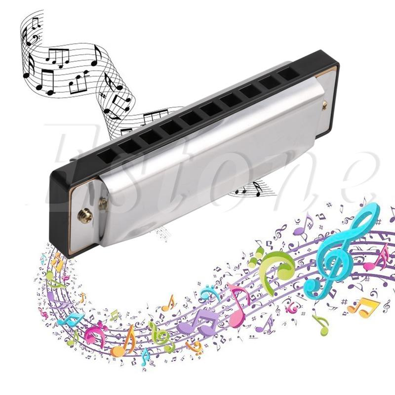 Blues Harmonica 10 Holes Key of C Musical Instrument Stainle