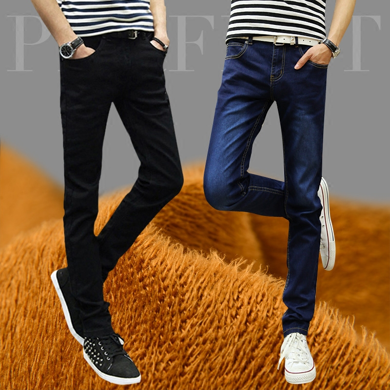 Winter fashion autumn winter Plush autumn mens jeans mens slim winter warm tight legged pants
