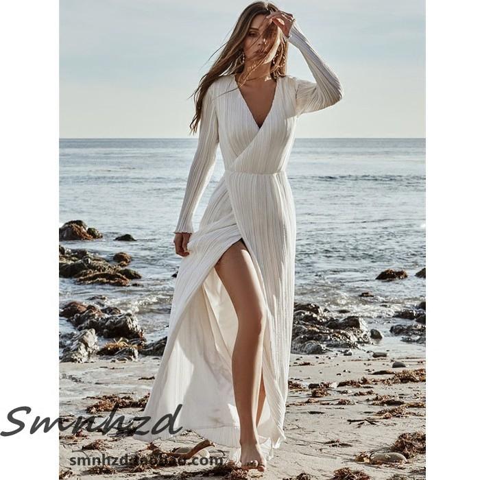 新款三亚海边度假风女装海岛旅拍长袖防晒连衣裙夏巴厘岛沙滩长裙
