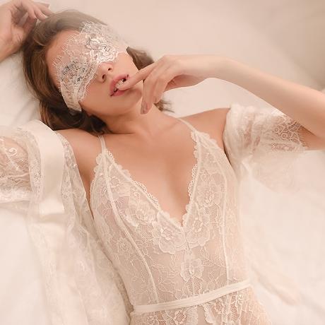私享阳光浴 睡衣女秋冬超薄透明蕾丝交叉吊带连体衣V领内衣