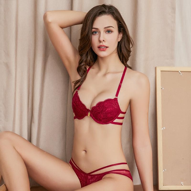 维密哆欧美风少女红色结婚内衣内裤套装性感蕾丝前扣美背聚拢文胸