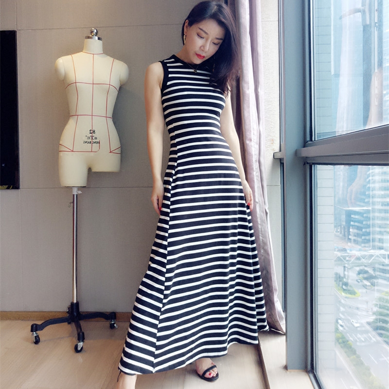 Atelier Luna black and white striped round neck vest with waistband and large hem knitted elastic cotton super long dress