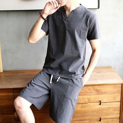 棉麻短袖T恤男套装夏季青年纯色V领亚麻半袖打底衫中国风男装体恤