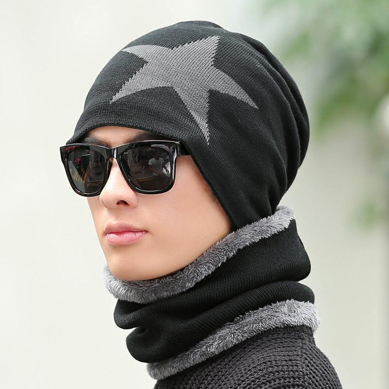 男士帽子 加絨毛線帽子男冬天保暖針織帽包頭帽青年潮套頭棉帽