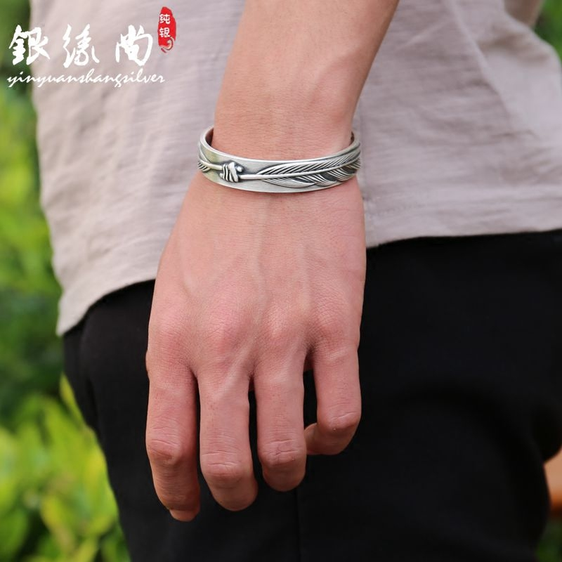 999 Sterling Silver Bracelet for men and women Thai silver retro literature open lovers Bracelet punk style feather Matt Bracelet