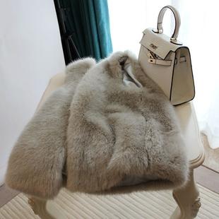 2017 новинка зимний осеннний искусственный лиса волосы шуба жилет женские короткие модель тепло серый свободный пальто волна