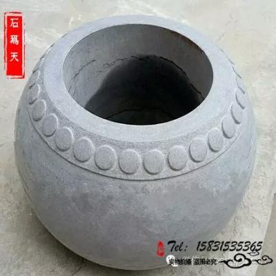石雕空心柱础石柱墩柱子底座外包圆形石头柱脚石柱基石石头柱墩石