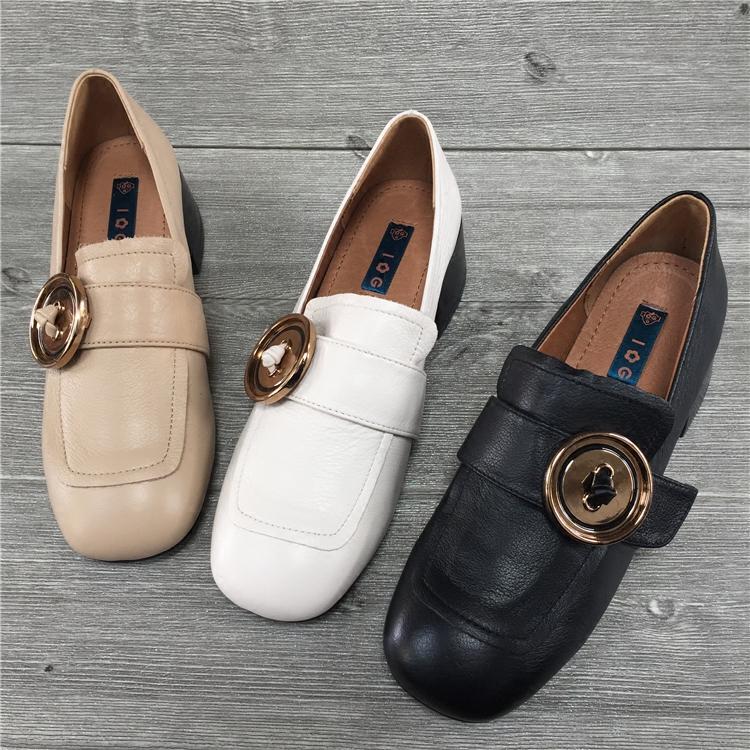 IG女鞋2018春季新款复古方头单鞋女真皮百搭皮带扣粗跟低跟奶奶鞋