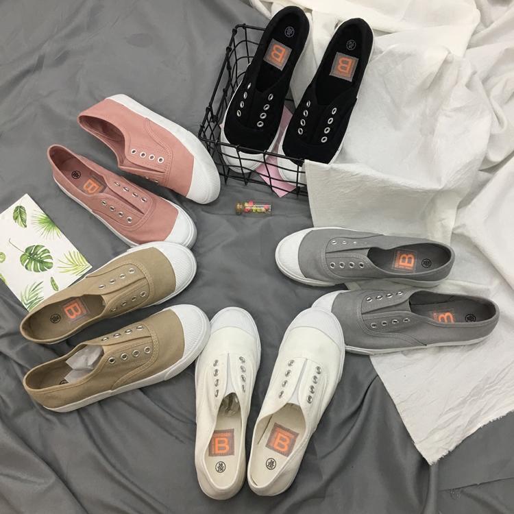 2018春夏一脚蹬懒人鞋帆布鞋女浅口韩版小白鞋白布鞋平底休闲板鞋