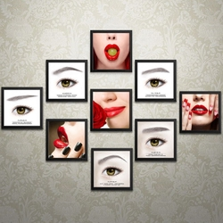 新款韩式半永久海报眉眼唇装饰画挂画美容院纹绣素描手绘无框壁画
