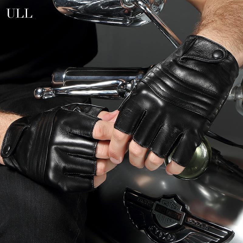 ull皮手套 男女 男士皮手套 半指真皮手套薄 露指骑行车机车手套
