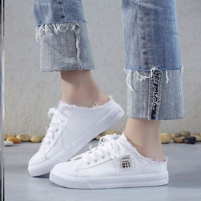 Simple slippers, canvas shoes, half slippers, canvas shoes, womens net red, no back heel, half support, two wear low heels, fashion and leisure ties