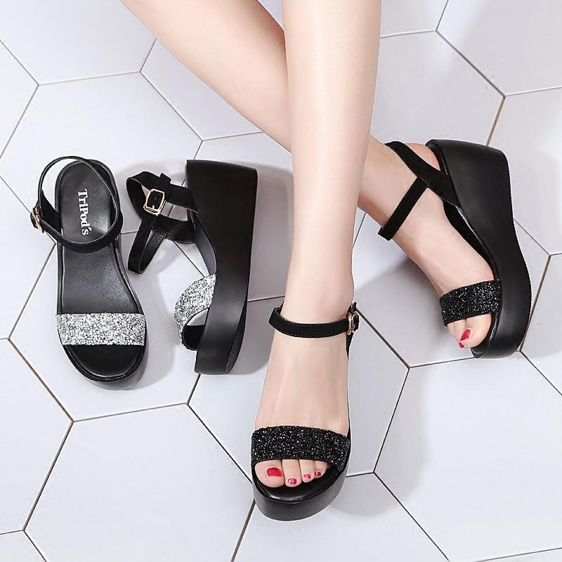 女士凉鞋坡跟2018夏季新款高跟鞋厚底松糕鞋黑色水钻夏天百搭女鞋