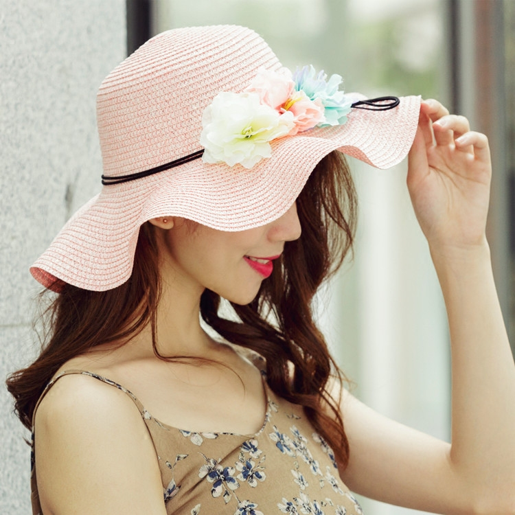 Корейский волны большой прилегает к цветы соломенная шляпа отцовство затенение крышка путешествие праздник песчаный пляж прохладно шляпа весна женский детей ученый