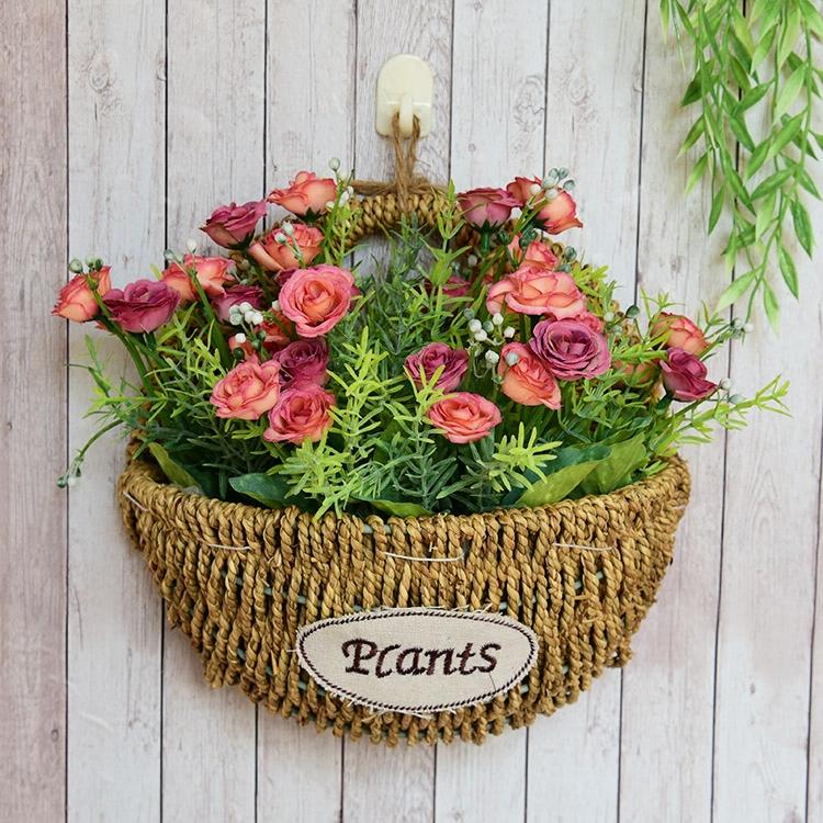 Сельская местность солома метоп настенный декоративный корзины ротанг моделирование сухие цветы корзины установите континентальный творческий ручной работы цветочный горшок