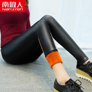 南极人加绒加厚秋冬仿皮打底裤外穿长裤皮裤紧身黑色小脚大码女裤
