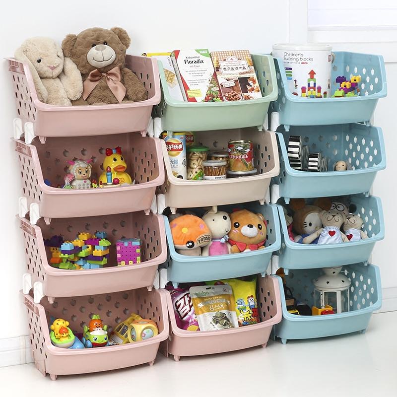 厨房果蔬收纳筐零食儿童玩具收纳箱多层叠加菜篮子塑料蔬菜置物架