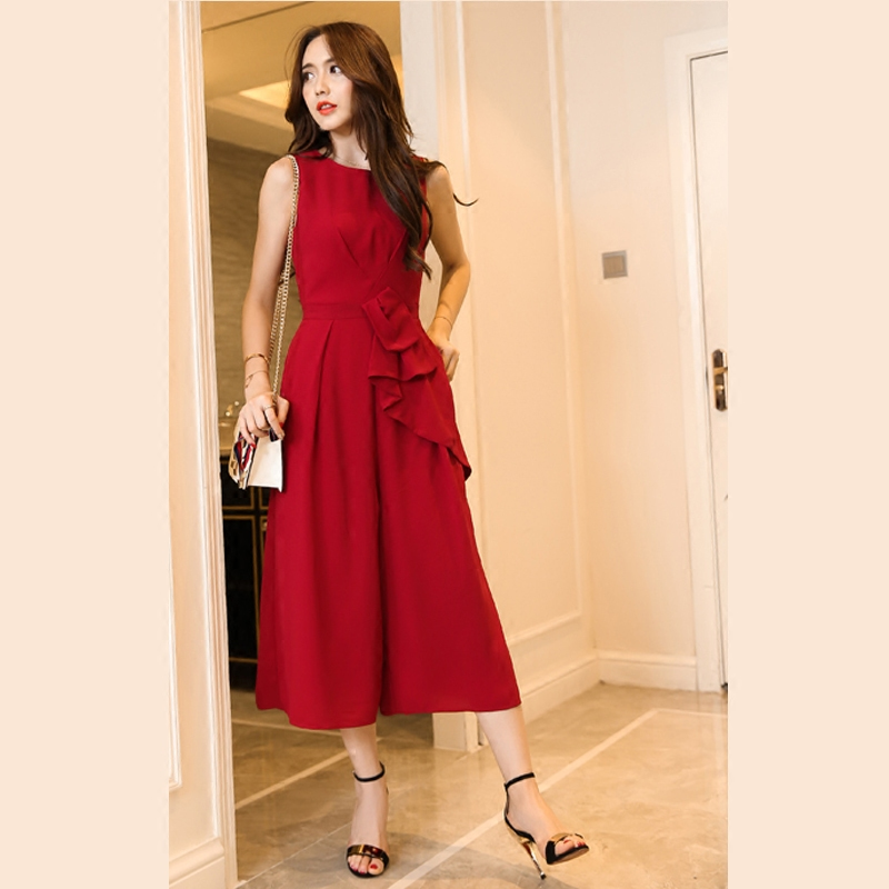 Sleeveless 7 / 3 wide leg Jumpsuit high waist Red Jumpsuit with bow bow