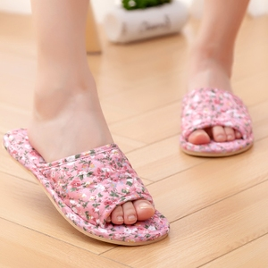喜多家居家情侣男女夏季室内吸汗防滑木地板牛筋软底纯棉布艺拖鞋