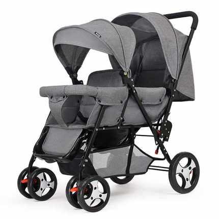 ㊣双胞胎婴儿推车前后坐推车轻便双人宝宝车二胎手推车可躺 加长