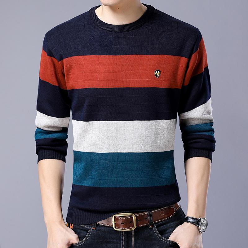 棉尔豪保暖内衣男士上衣圆领单件加绒加厚青年条纹提花棉毛衫