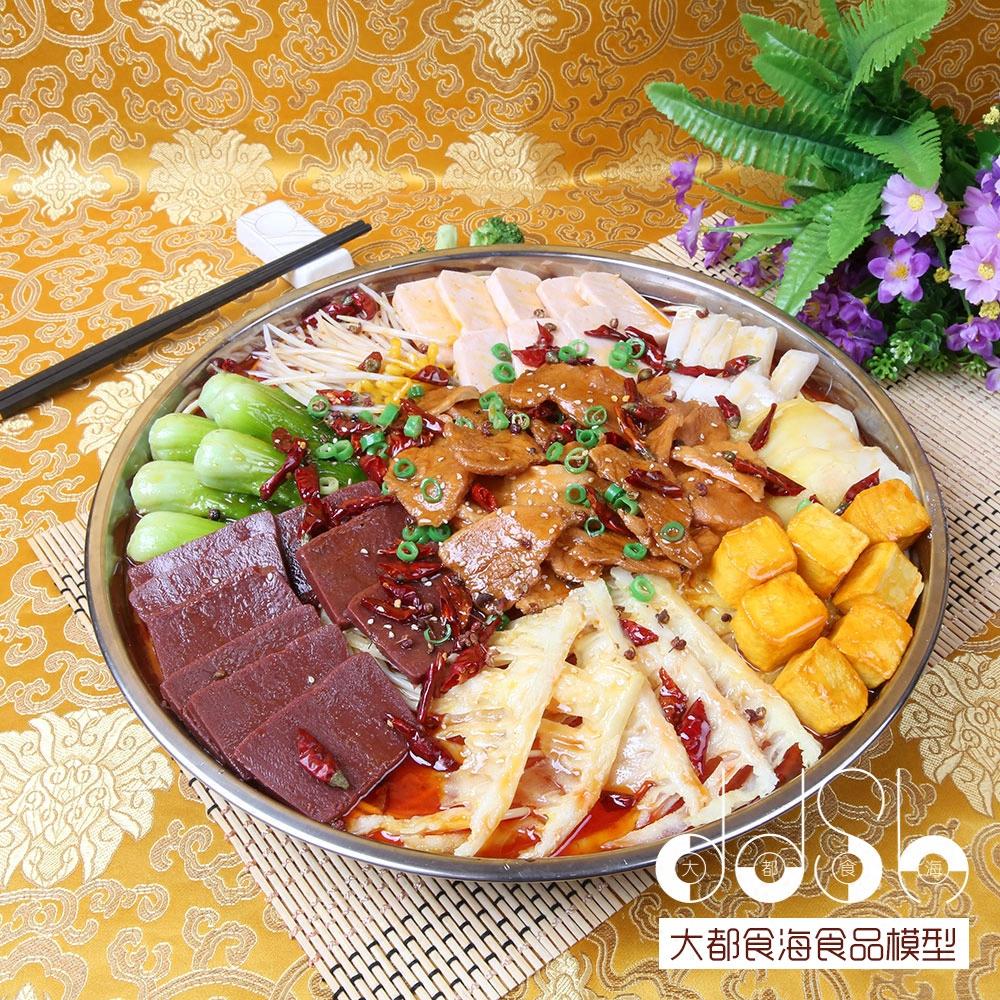 仿真麻辣干锅大盘菜假菜样品中餐饭店道具菜展示食物模型厂家定做