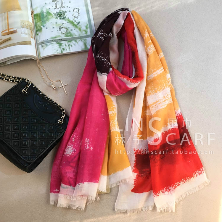 Autumn and winter new color stripe bright color cashmere wool ring cashmere scarf warm long scarf woman shawl thin