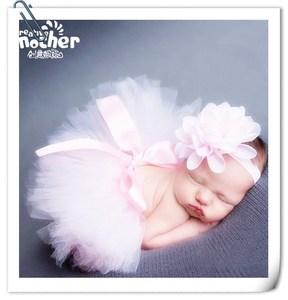婴儿摄影服装头饰蓬蓬裙新生儿拍照裙子宝宝满月百天照道具公主裙