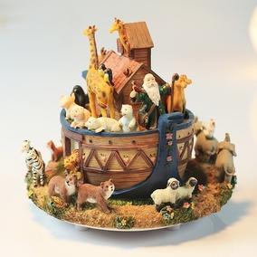 动物诺亚方舟旋转音乐盒创意摆设
