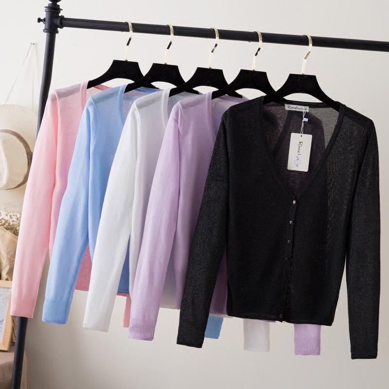 2018早春冰丝夏装薄款短款防晒衣空调衫针织衫女开衫长袖毛衣外套