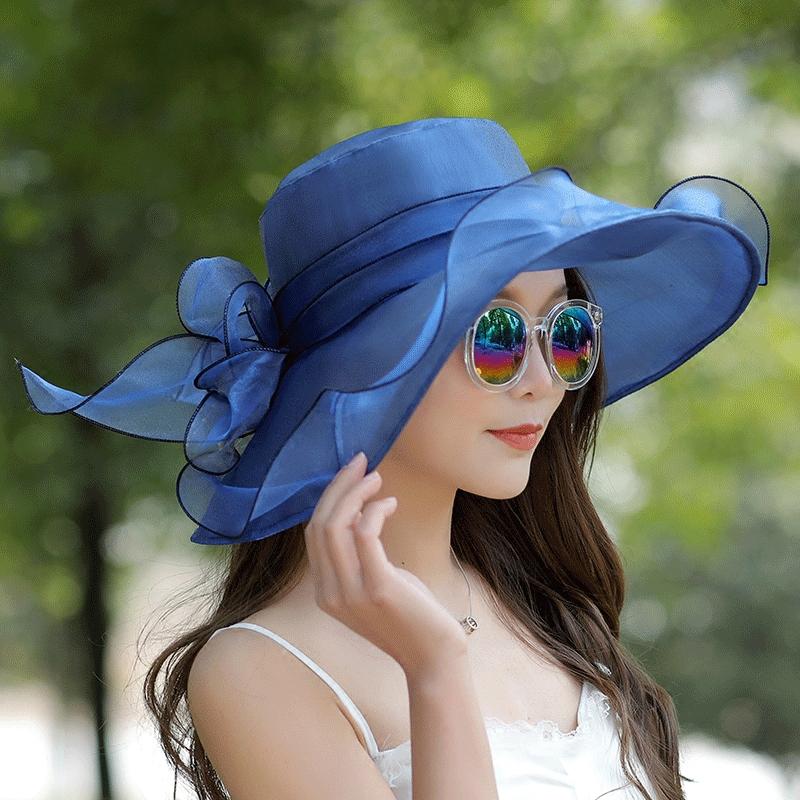 防曬遮臉歐根紗沙灘帽戶外折疊太陽帽女夏遮陽帽出遊百搭大沿帽