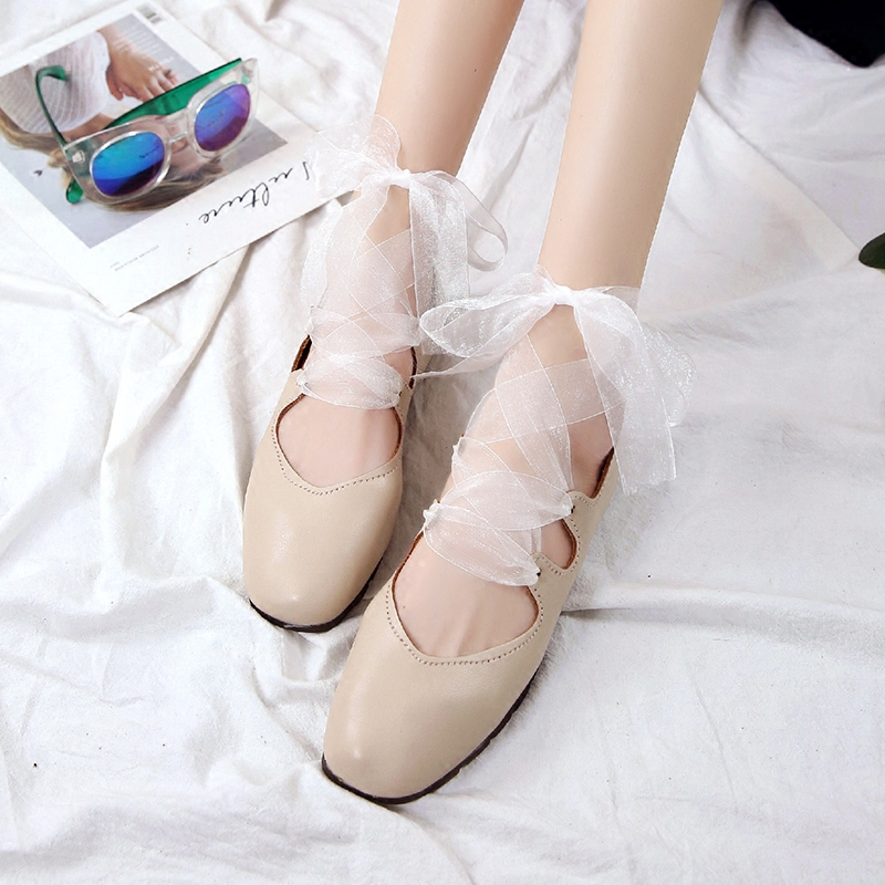 Retro 2018 new silk ribbon cross tie Ballet Flat Shoes leather round head fairy womens shoes soft sole single shoes