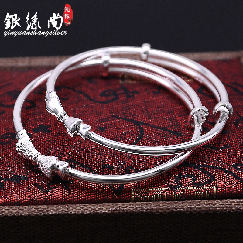 S999 full silver sweet bow smooth frosted silver bracelet girls pure silver fashion push-pull bracelet for girlfriend